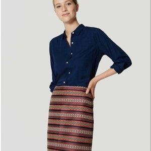 Ann Taylor LOFT Boheme Blue Striped Shift Skirt 8